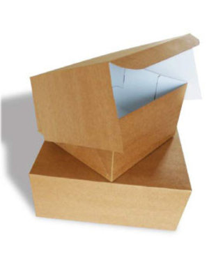 Taartdoos, 23x23x10 cm, Duplex, milieu-kraft/klep, 100 stuks