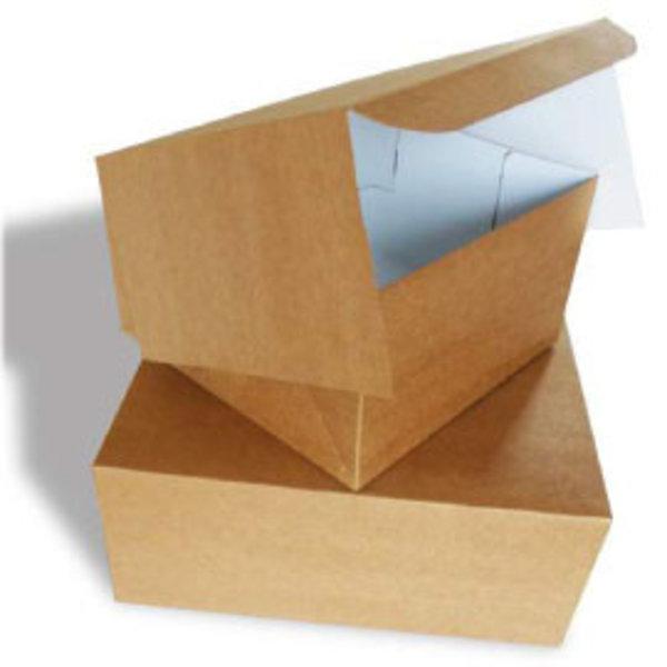 Taartdoos, 13x13x8 cm, Duplex, milieu-kraft/klep, 100 stuks per doos