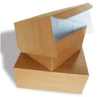 Taartdoos, 27x27x8 cm, Duplex, milieu-kraft/klep, 100 stuks