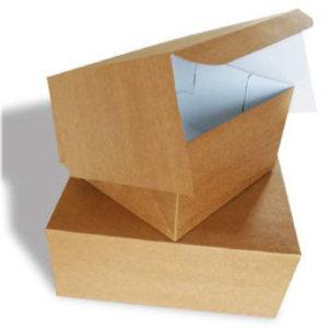 Taartdoos, 21x21x8 cm, Duplex, milieu-kraft/klep, 100 stuks