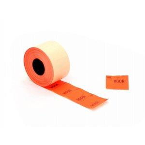 price label 37 x 28 RH fluorine red Van / VOOR