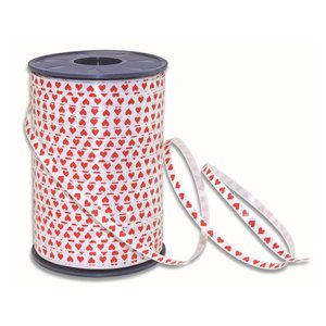 Curl ribbon, white with red hearts