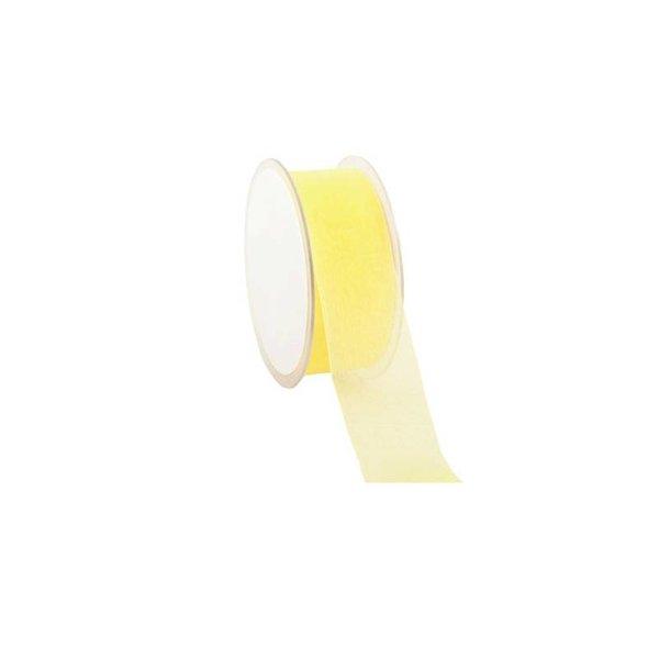 Organza lint, Woven Edge, 25mmx25mtr,  Licht geel