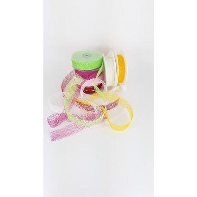 Yarn Fabric ribbon, crispy ribbon, 30mm x 25m , rood