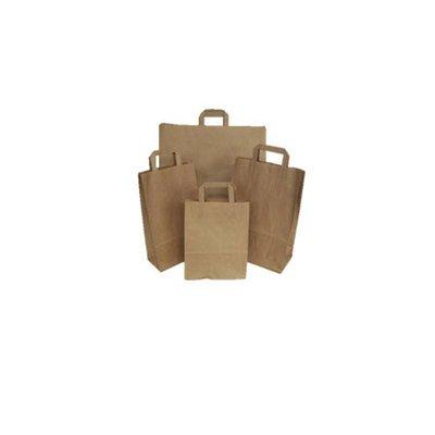 Papieren draagtassen, 26+17x25 cm, Snacktas, bruin, plat handvat