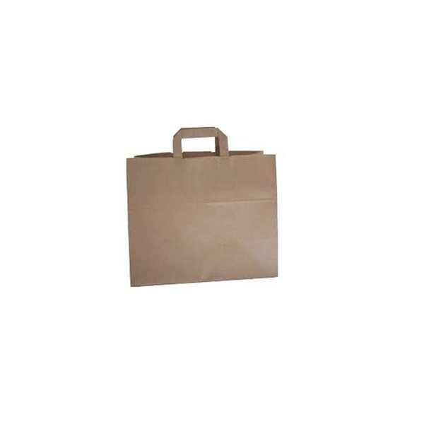 Papieren draagtassen, 32+17x25 cm, Snacktas, bruin, plat handvat