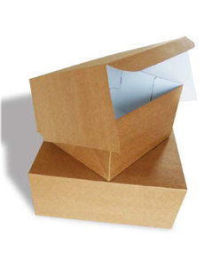 Cake box, 27x27x5 cm, Duplex, environmental kraft, leftover
