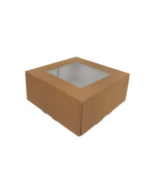 Taartdoos, 21x21x9 cm, bruin kraft, met venster