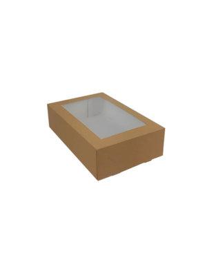 Gebaksdoos, 19x12,5x5 cm, bruin kraft, met venster