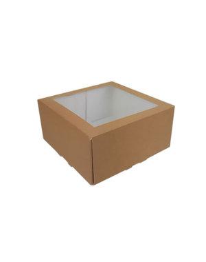 Cakebox, brown kraft, 19x19x9 cm