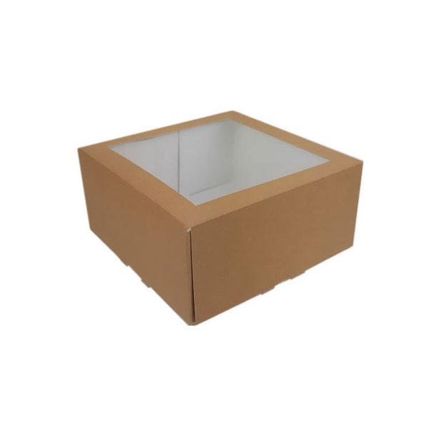 Cakebox, brown kraft, 19x19x9 cm, with window