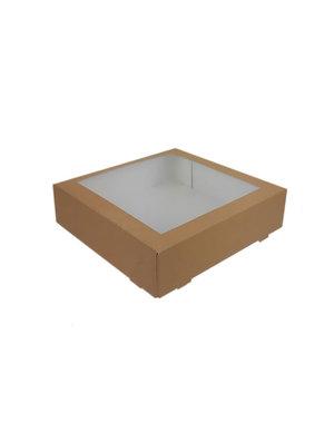 Cakebox, brown kraft, 19x19x5 cm