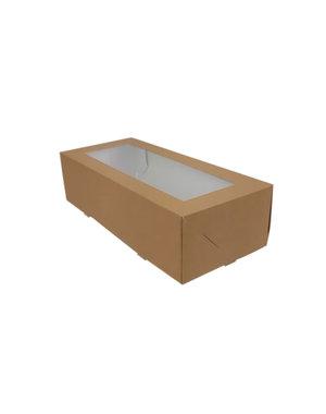 Yule log cake box, brown kraft, 26x12x7 cm