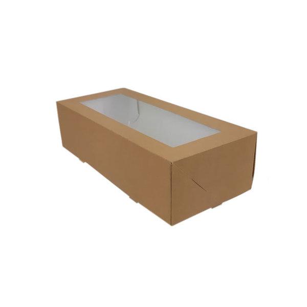 Stoldoos, bruin kraft, 26x12x7 cm, met venster