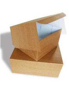 Taartdoos, 21x21x8 cm, Duplex, milieu-kraft/klep, RESTANT