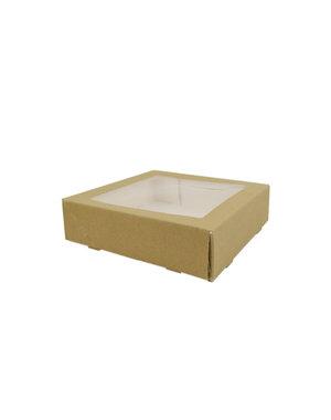 "Cakebox, brown kraft, 19x19+5 cm, with window ""Robuust"""