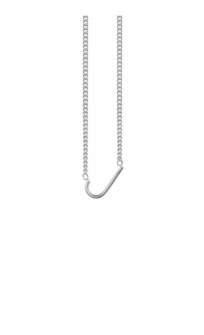 Anna + Nina Initial Letter Necklace J Silver