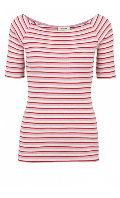 Modstrom Krown Stripe Off Shoulder Top Ballet Pink/Red/Porcelain