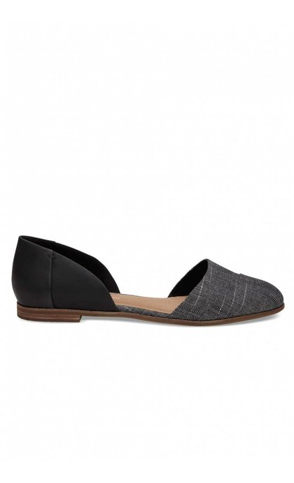 Toms Jutti Dorsay Black Leather Flat