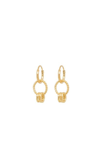 Anna + Nina Rope Multi Ring Earring Goldplated