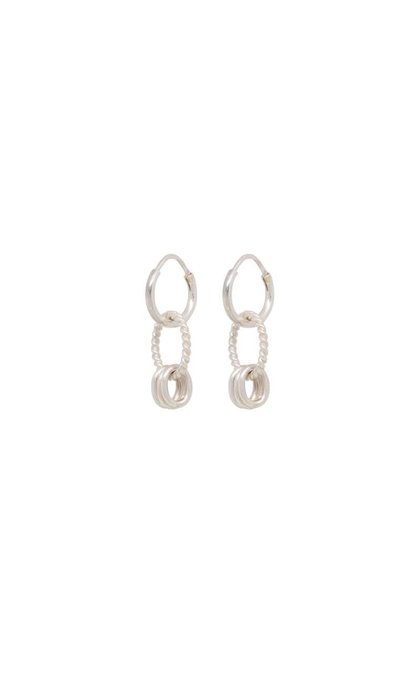 Anna + Nina Rope Multi Ring Earring Silver