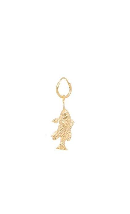 Anna + Nina Single Fish Ring Earring Goldplated