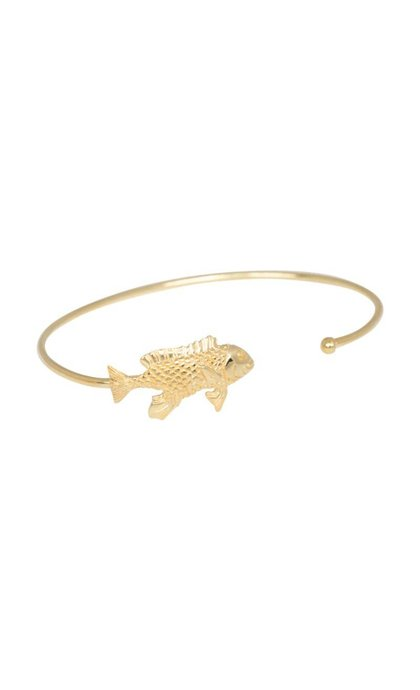 Anna + Nina Fish Cuff Silver Goldplated