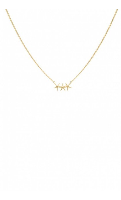Anna + Nina Starfish Trio Necklace Goldplated