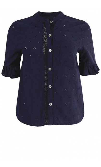 Leon and Harper Chemin Blouse Lace Indigo