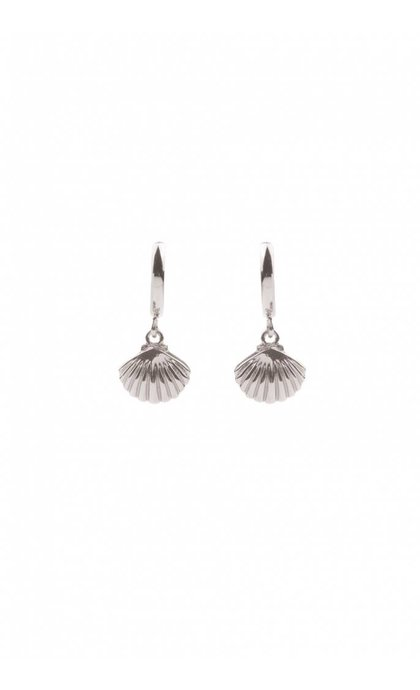 All the Luck in the World Souvenir Sea Shell Earrings Silverplated