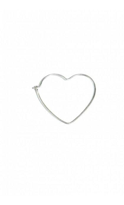 Fashionology Heart Hoop Earring Silver 30mm