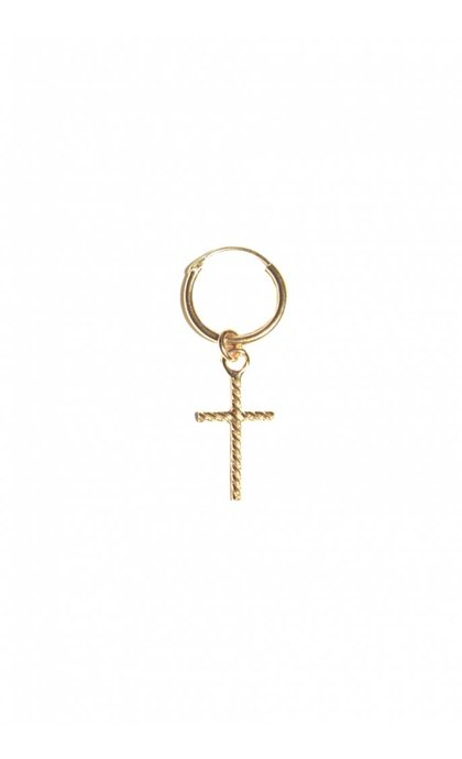 Fashionology Oblique Cross Hoop Earring Goldplated
