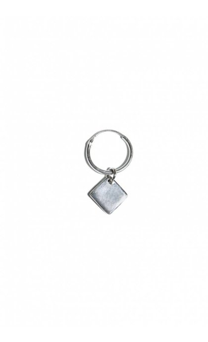 Fashionology Cube Tag Hoop Earring Sterling Silver