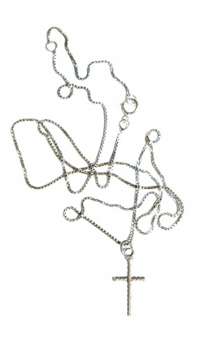 Fashionology Oblique Cross Necklace Sterling Silver
