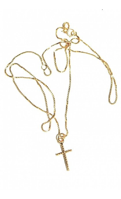 Fashionology Oblique Cross Necklace Goldplated