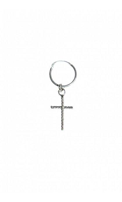 Fashionology Oblique Cross Hoop Earring Sterling Silver