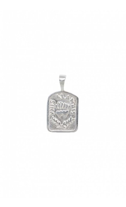 Anna + Nina Medallion Necklace Charm Silver