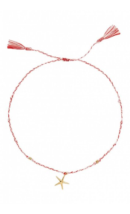 Anna + Nina Starfish Thread Anklet Brass Mixed Deep Red