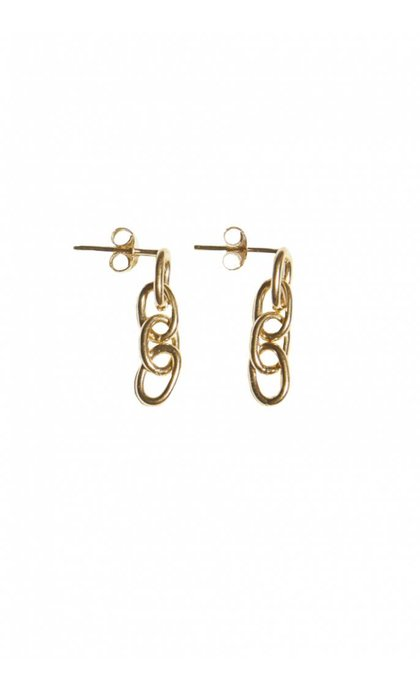 Fashionology Ellipse Chain Earpins Goldplated