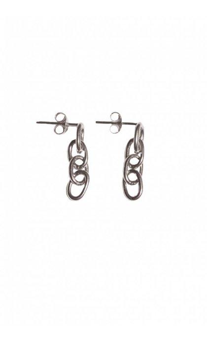 Fashionology Ellipse Chain Earpins Sterling Silver