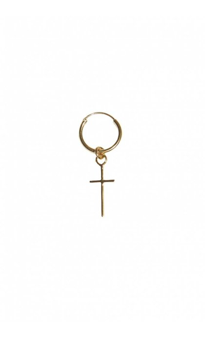 Fashionology Cross Hoop Earring Goldplated