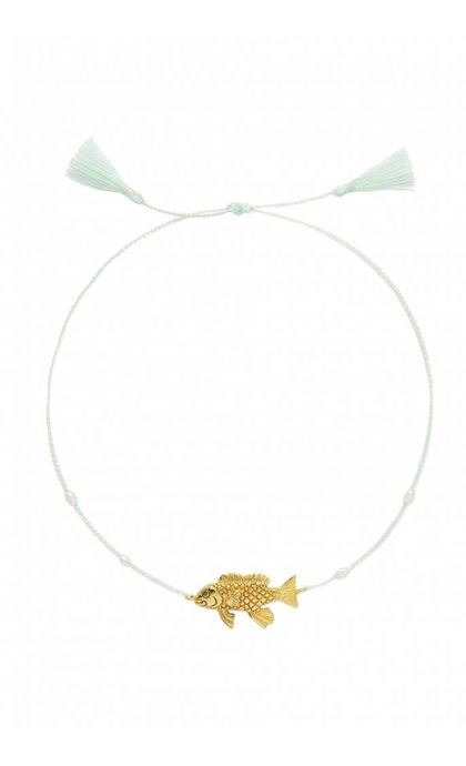 Anna + Nina Fish Thread Anklet Brass Blue Lagoon