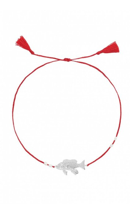 Anna + Nina Fish Thread Anklet Silver Deep Red