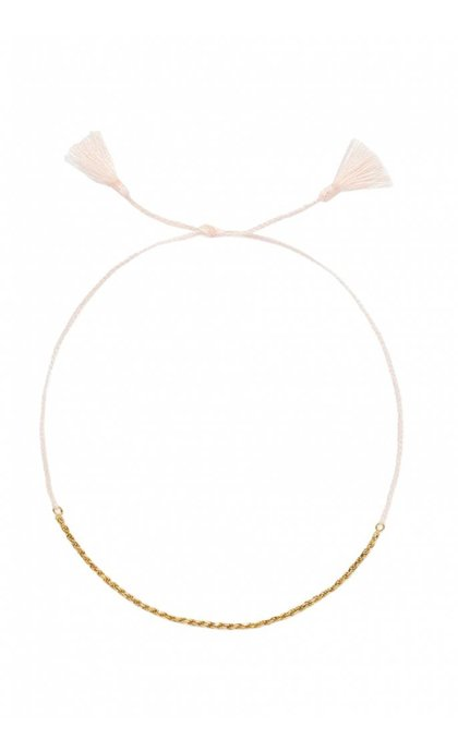 Anna + Nina Rope Thread Anklet Goldplated Dusty Pink