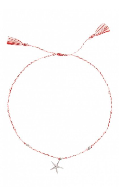 Anna + Nina Starfish Thread Anklet Silver Mixed Deep Red