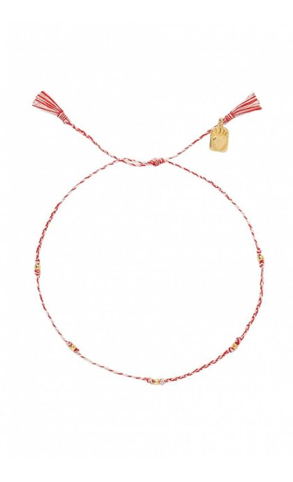 Anna + Nina Medaillon Thread Anklet Brass Mixed Deep Red