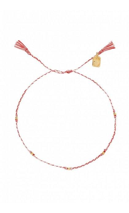 Anna + Nina Medaillon Thread Anklet Brass Mixed Deep Red