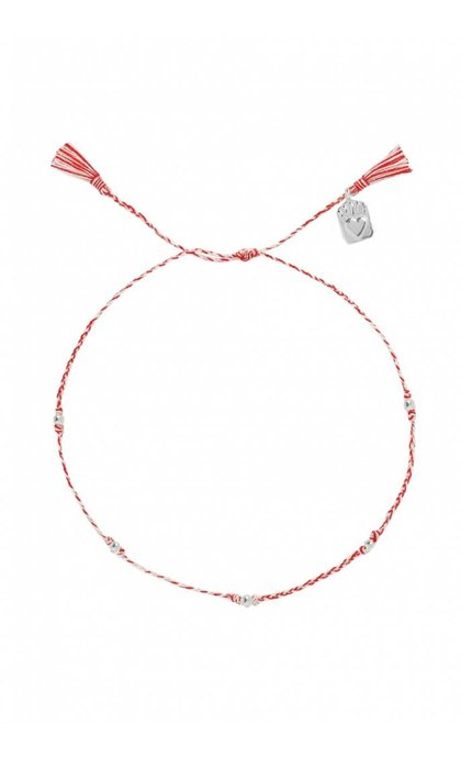 Anna + Nina Medaillon Thread Anklet Silver Mixed Deep Red
