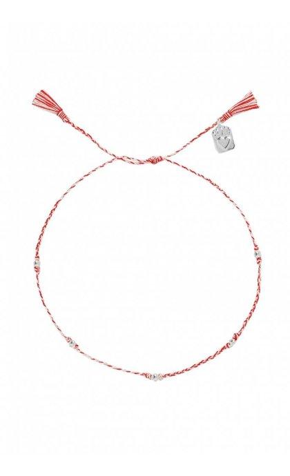 Anna + Nina Medaillon Thread Anklet Silver Mixed Deep Red