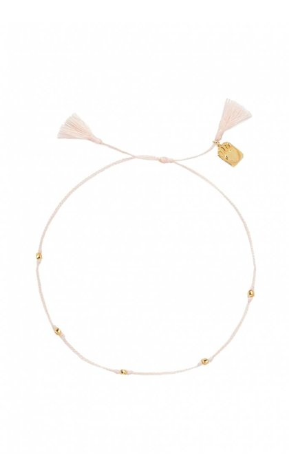 Anna + Nina Medaillon Thread Anklet Brass Dusty Pink